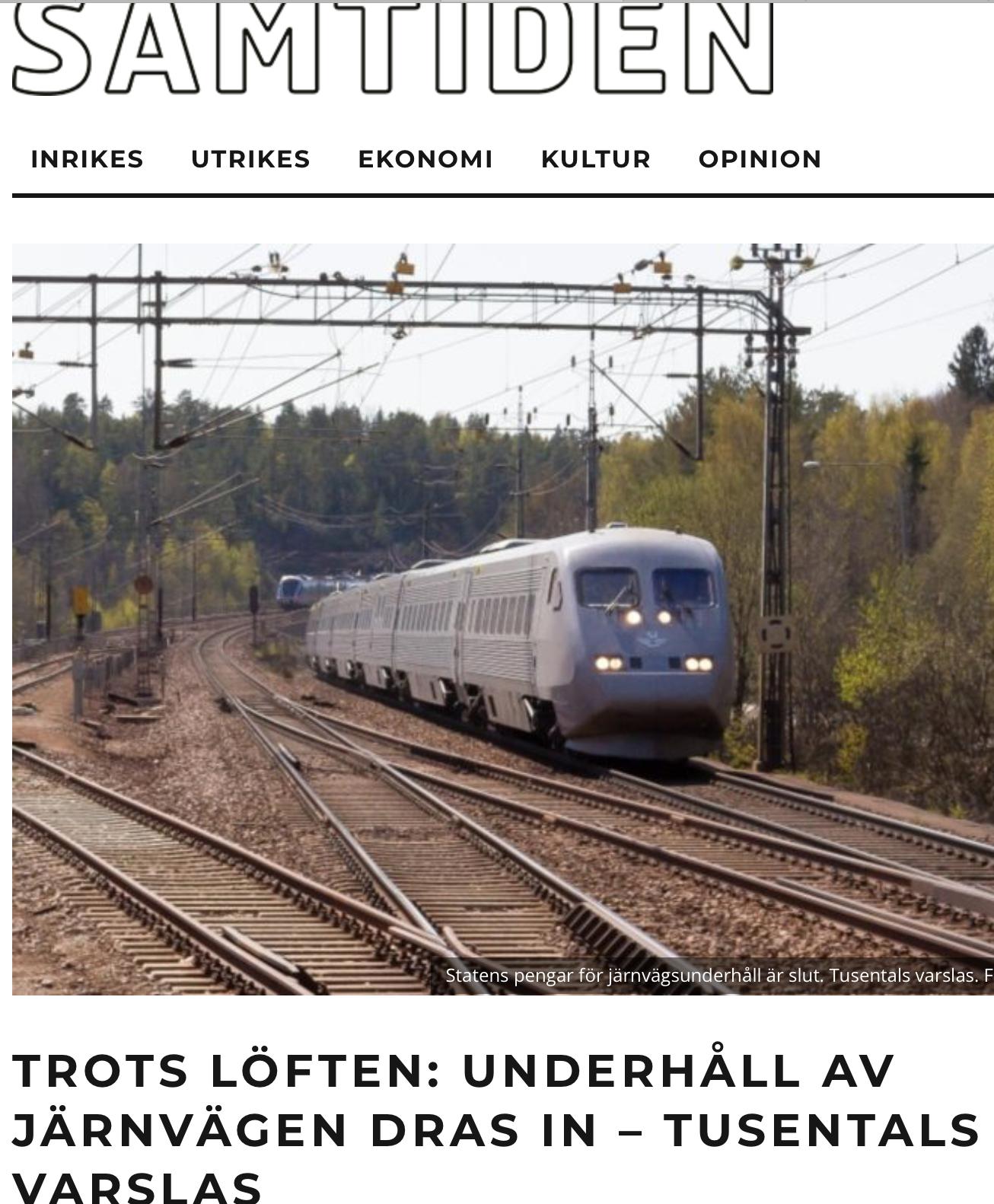 Regeringens pengar till järnvägsunderhåll slut. Samtidigt som man på fullt allvar pratar höghastighetsbanor för 100-tals miljarder.