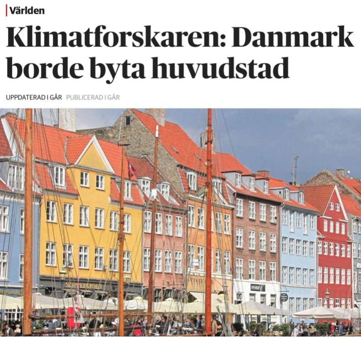Dansk klimatforskare vill flytta huvudstaden innan den hamnar på havets botten.