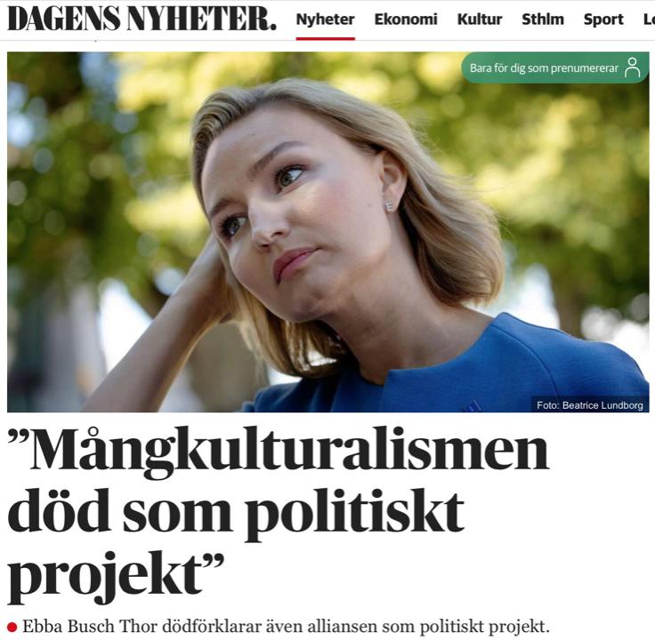 Ebba:  Mångkulturalismen är död