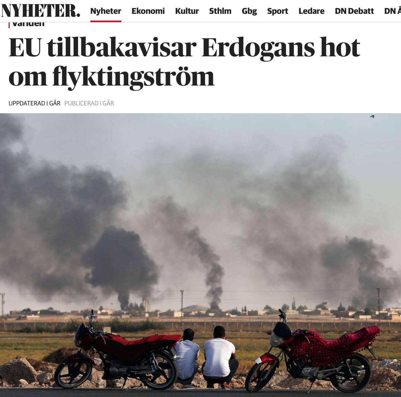 Erdogan hotar skicka 3,5 miljoner syrier till EU. Många står så gott som redan på Arlanda.