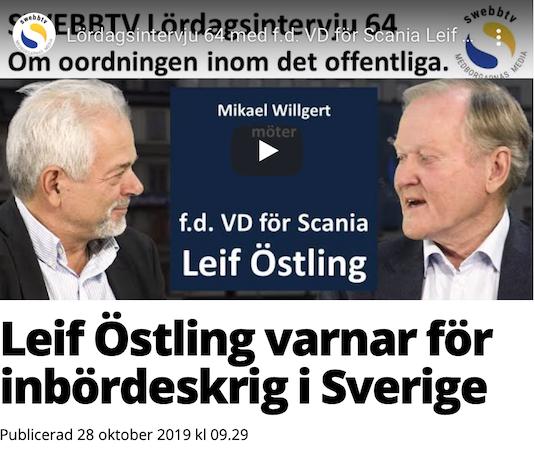 Leif Östling i Swebb-TV. Om en svängning, del 3.