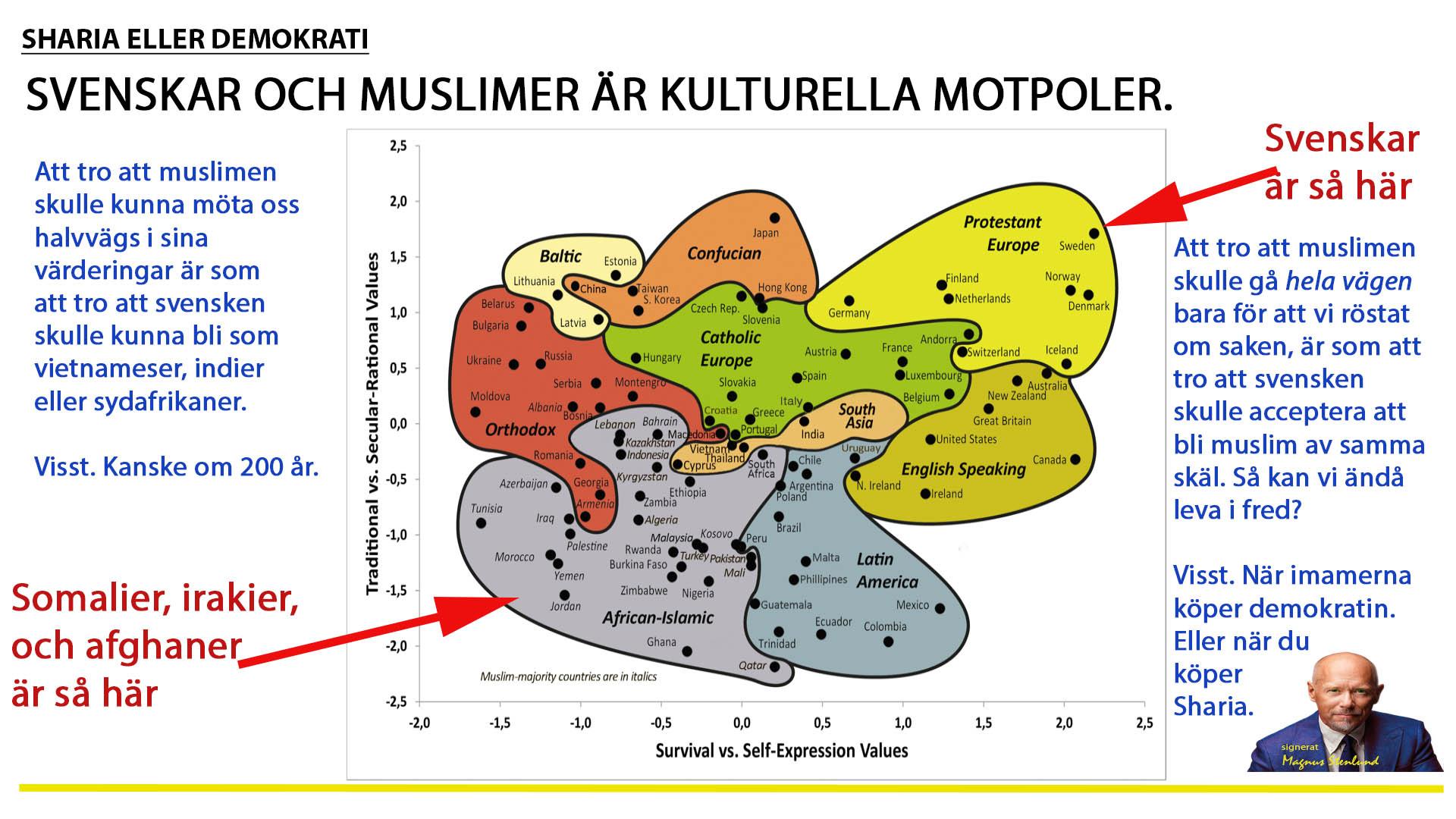 Sverige är ingen mångkultur, det är bara vi och islam. Och en spännvidd oss emellan som gör demokratin osäker.