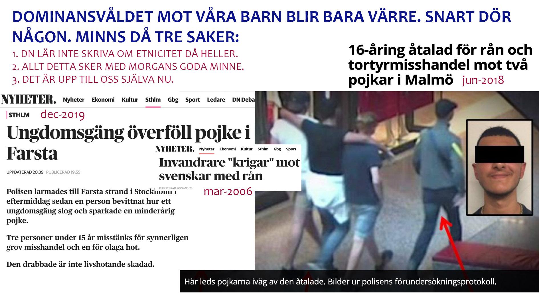 Ännu en 'synnerligen grov misshandel' av ett svenskt barn. De tio som sparkade var kanske inte alls invandrare (0,01% chans på det).