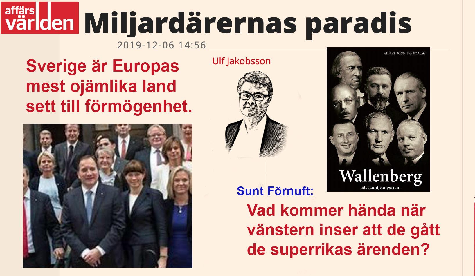 PK-vänsterns nyttiga idioter är grundlurade av ett fåtal superrika. Sverige: ojämlikast i Europa.