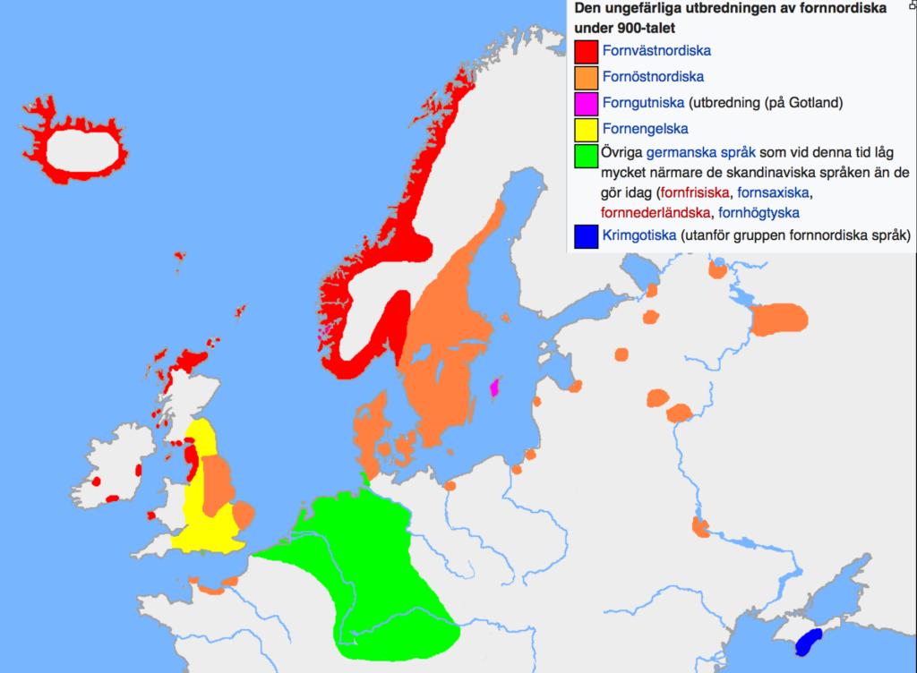 Textruta: Figur 1 Svenskan i nordväst och sanskrit i sydost, som det möter oss i vedaskrifterna, har båda gemensamma rötter i PIE. Delningen skedde för ca 5.000 år sedan (ur Wikipedia)