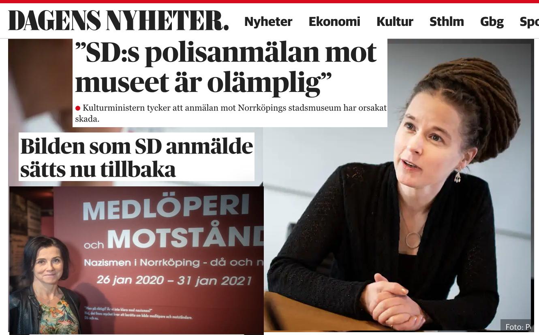 Amanda Lind (Mp) anser det vara yttrandefrihet när Norrköpings stadsmuseum kallar SD:are för medlöpari-nazister. Så bilden är uppsatt igen.