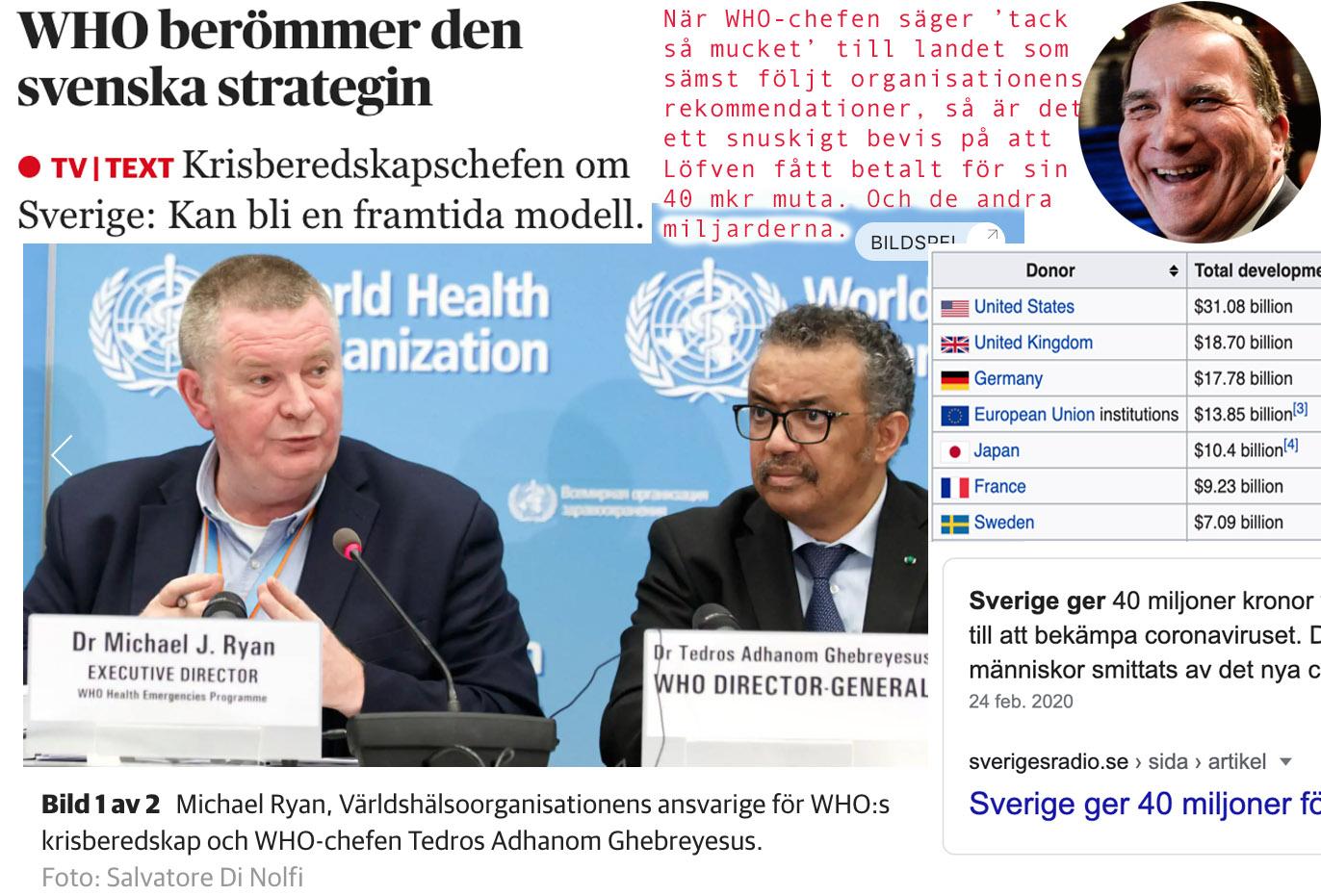 När WHO berömmer Sverige, sämst i klassen, så är det snuskigt kräleri för deras stora donator.