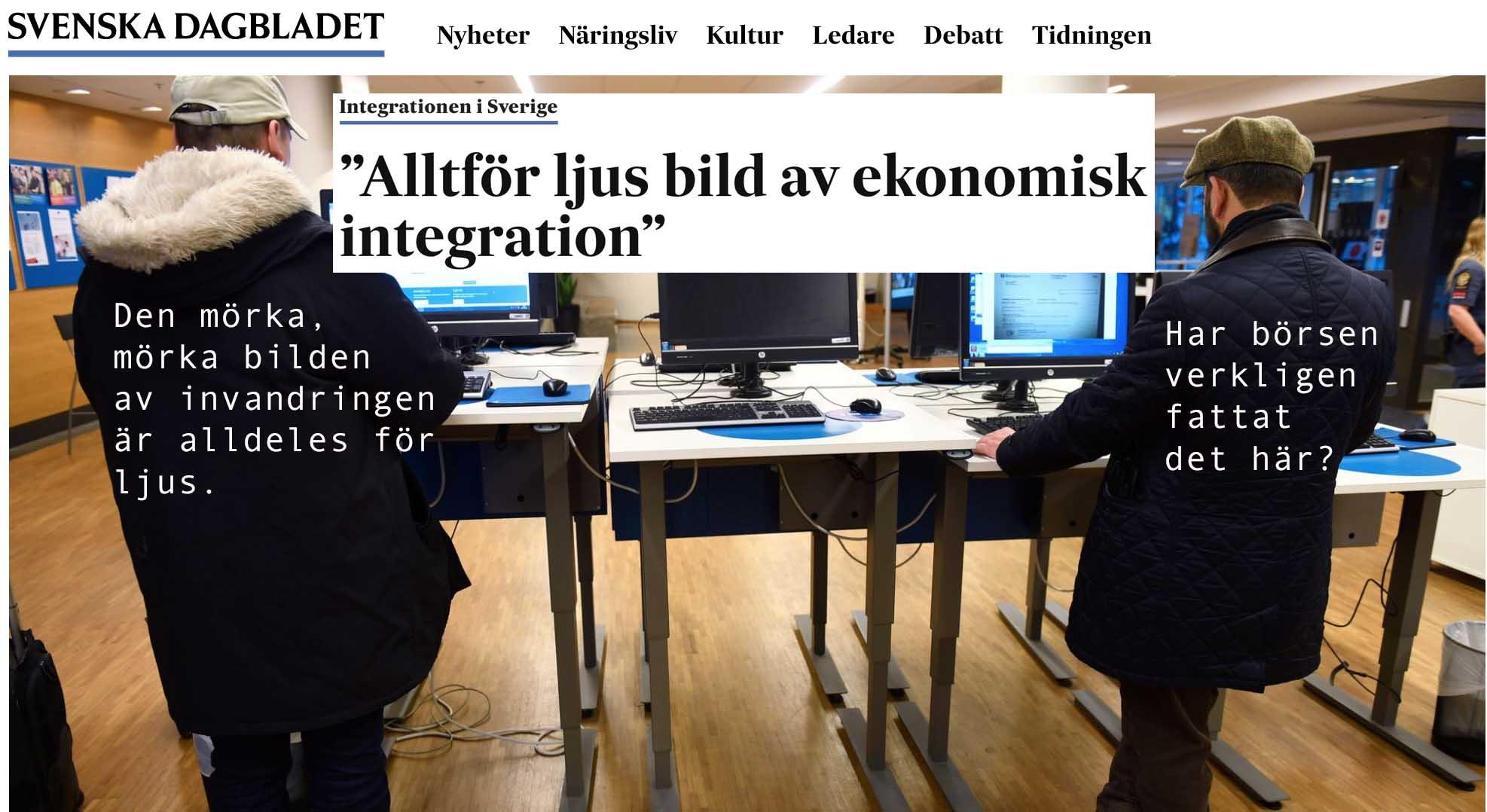 Invandringsbubblan: 90% bidragsberoende i sex år. 70% på sikt. Och Sverige har skaffat sig 15% strukturell arbetslöshet. I evighet. Amen.