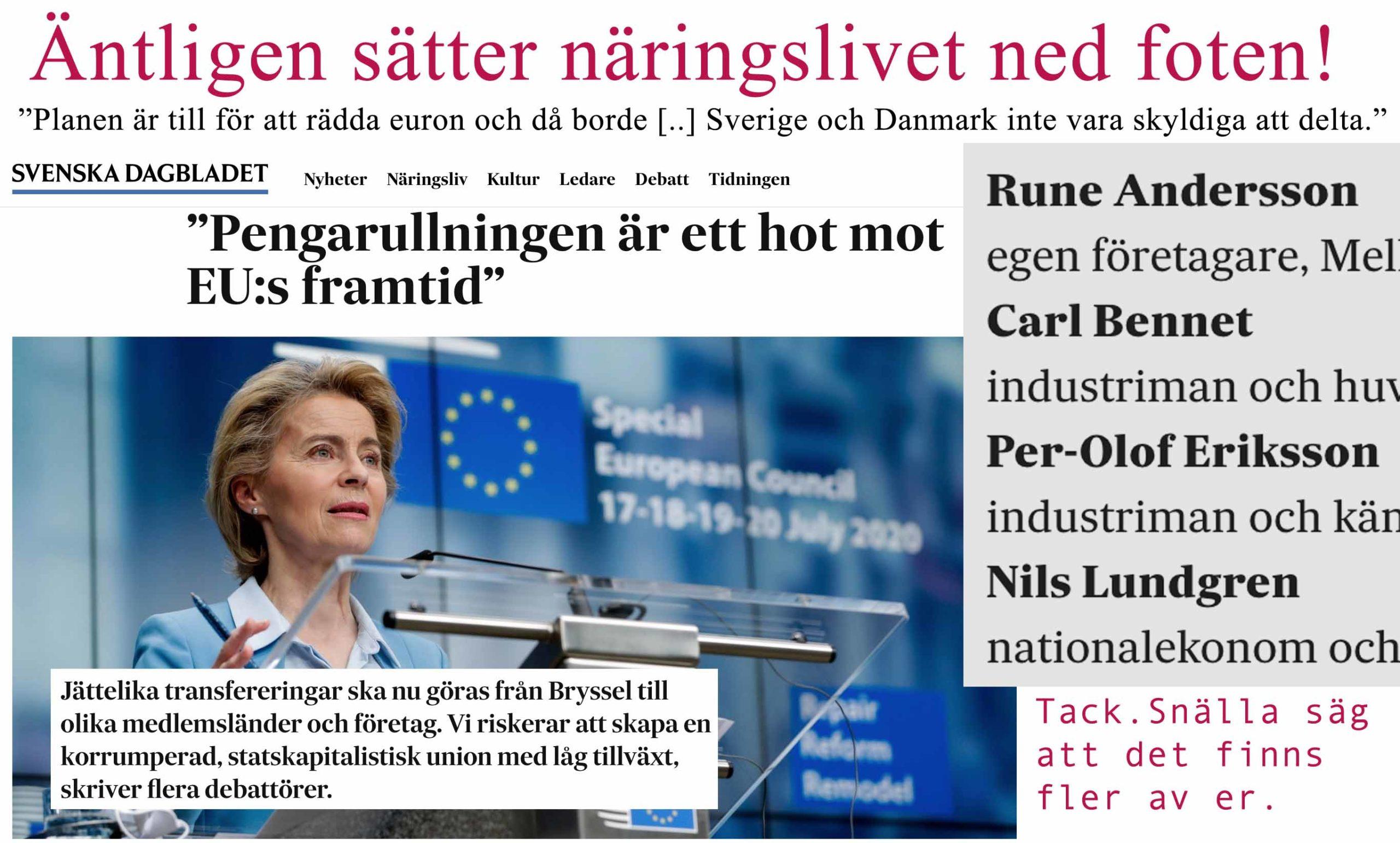 Tunga näringslivsföreträdare undrar varför Sverige ska behöva hjälpa till att rädda euron. Det borde även Löfven ha frågat sig.